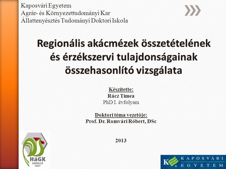 Doktori téma vezetője: Prof. Dr. Romvári Róbert, DSc