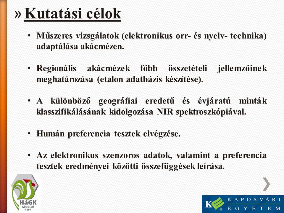 Kutatási célok Műszeres vizsgálatok (elektronikus orr- és nyelv- technika) adaptálása akácmézen.