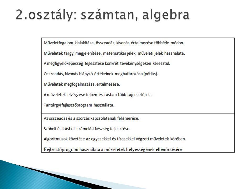 2.osztály: számtan, algebra