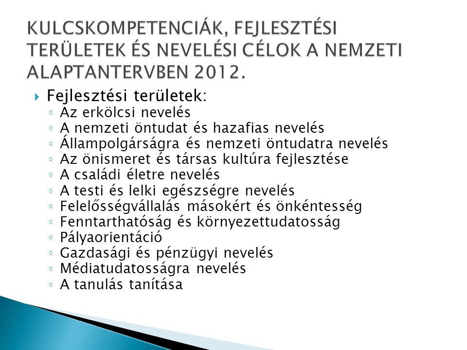 KULCSKOMPETENCIÁK, FEJLESZTÉSI TERÜLETEK ÉS NEVELÉSI CÉLOK A NEMZETI ALAPTANTERVBEN 2012.