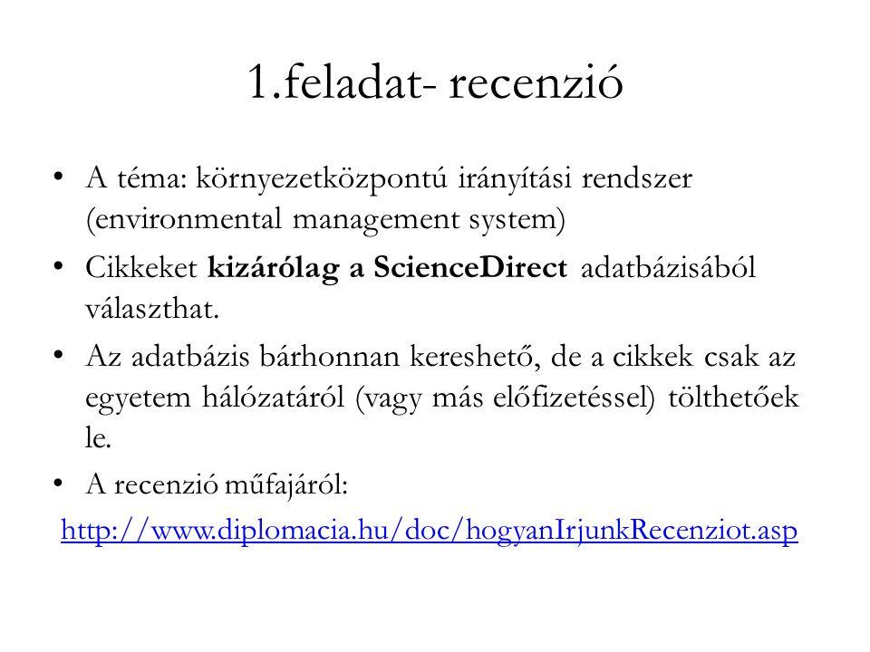1.feladat- recenzió A téma: környezetközpontú irányítási rendszer (environmental management system)