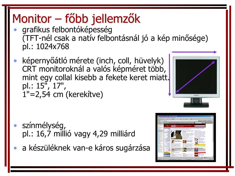 Monitor – főbb jellemzők