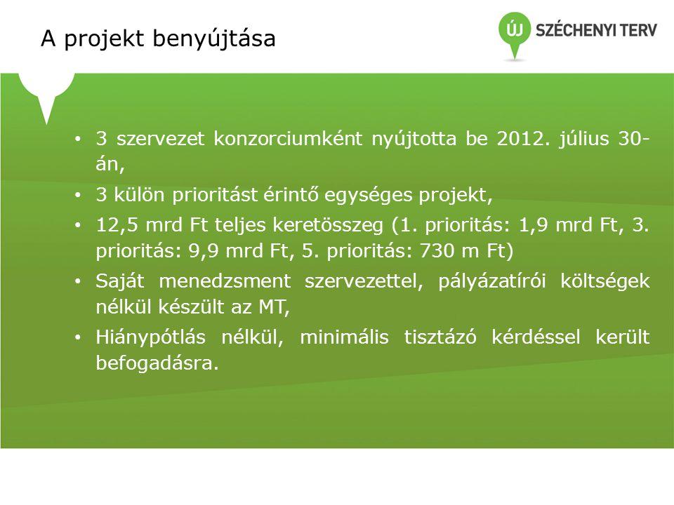 A projekt benyújtása 3 szervezet konzorciumként nyújtotta be 2012. július 30-án, 3 külön prioritást érintő egységes projekt,
