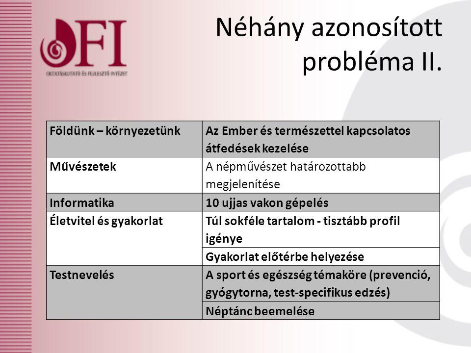 Néhány azonosított probléma II.