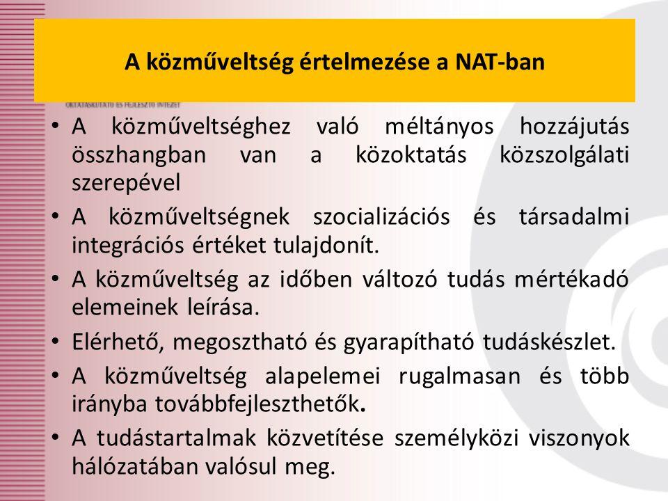 A közműveltség értelmezése a NAT-ban