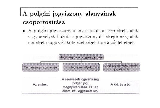 A polgári jogviszony alanyainak csoportosítása