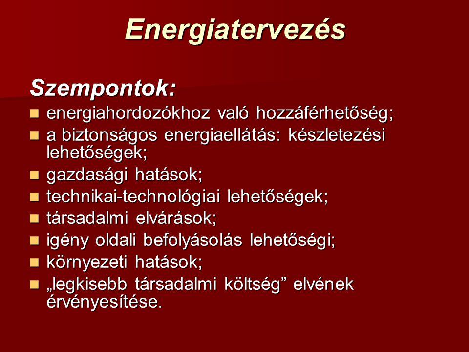 Energiatervezés Szempontok: energiahordozókhoz való hozzáférhetőség;