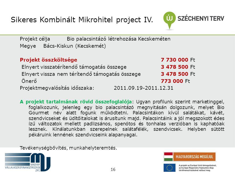 Sikeres Kombinált Mikrohitel project IV.