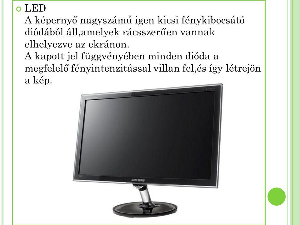 LED A képernyő nagyszámú igen kicsi fénykibocsátó diódából áll,amelyek rácsszerűen vannak elhelyezve az ekránon.