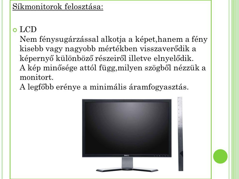 Síkmonitorok felosztása: