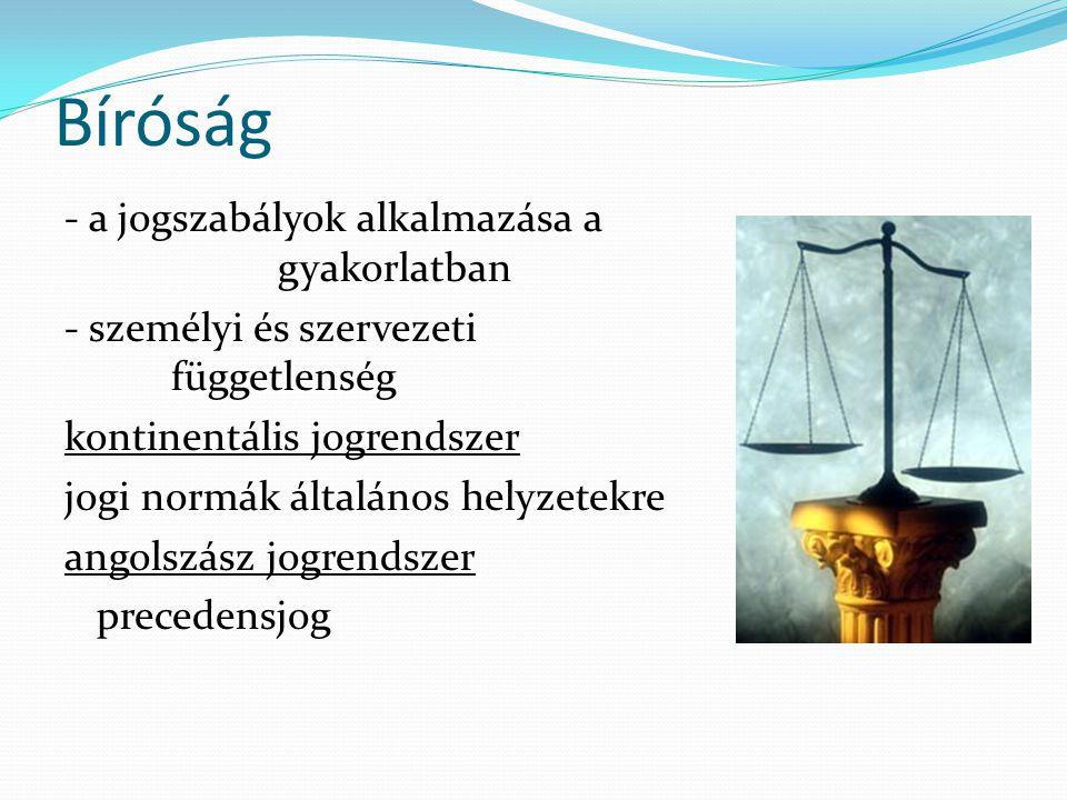 Bíróság - a jogszabályok alkalmazása a gyakorlatban