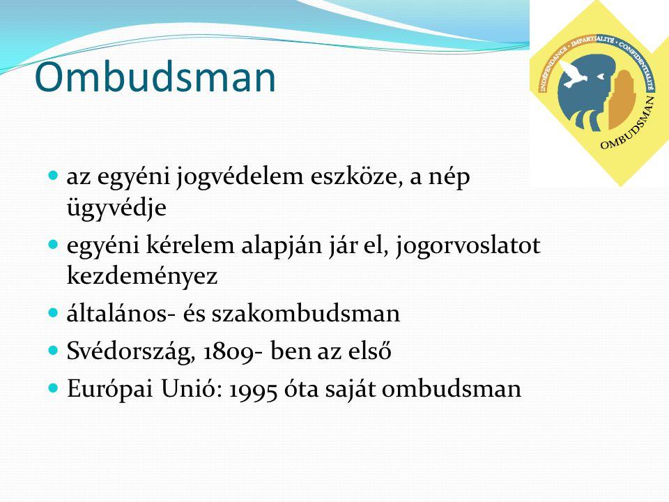 Ombudsman az egyéni jogvédelem eszköze, a nép ügyvédje