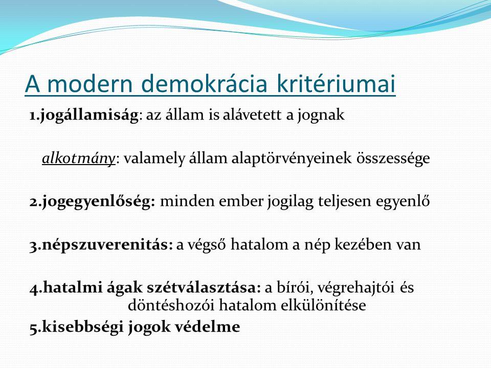 A modern demokrácia kritériumai