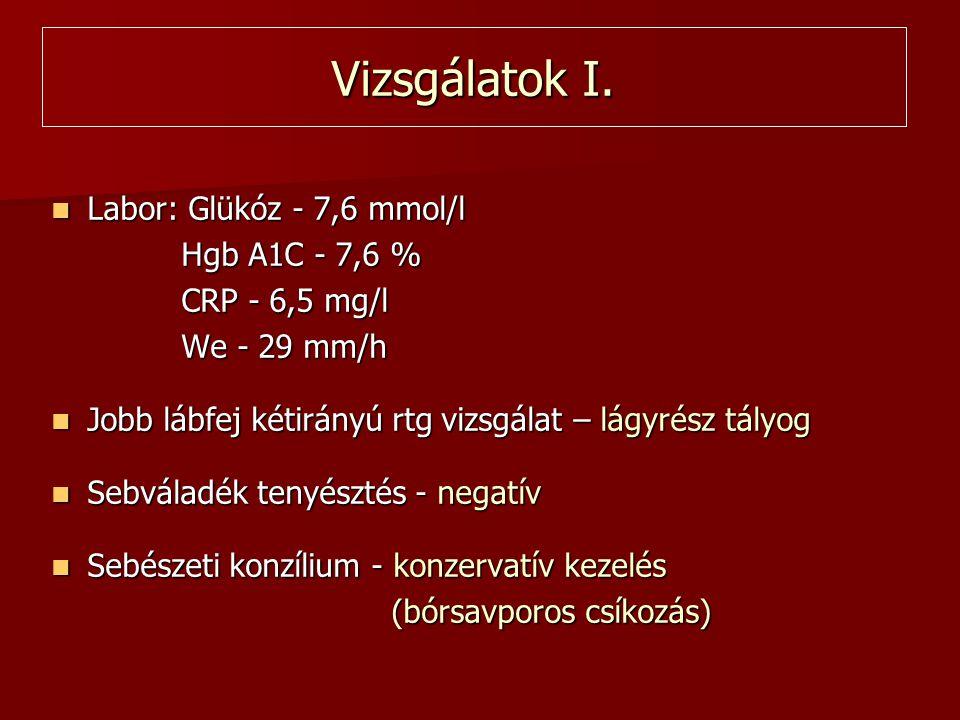 Vizsgálatok I. Labor: Glükóz - 7,6 mmol/l Hgb A1C - 7,6 %