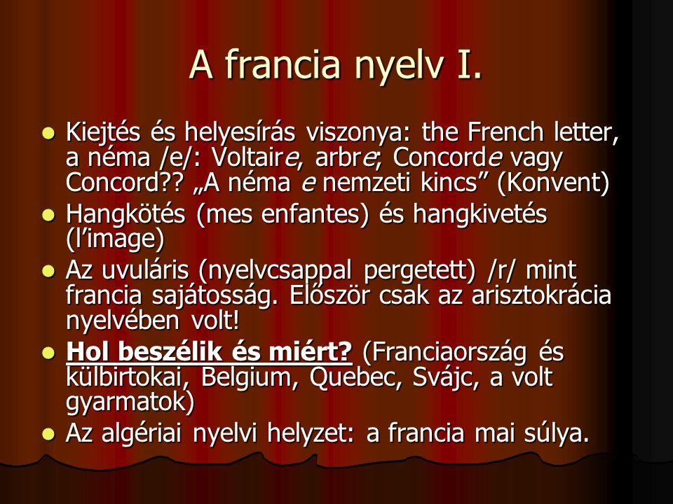 A francia nyelv I.