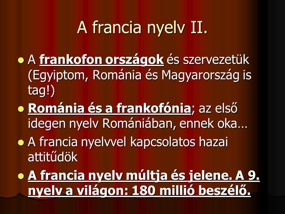 A francia nyelv II. A frankofon országok és szervezetük (Egyiptom, Románia és Magyarország is tag!)