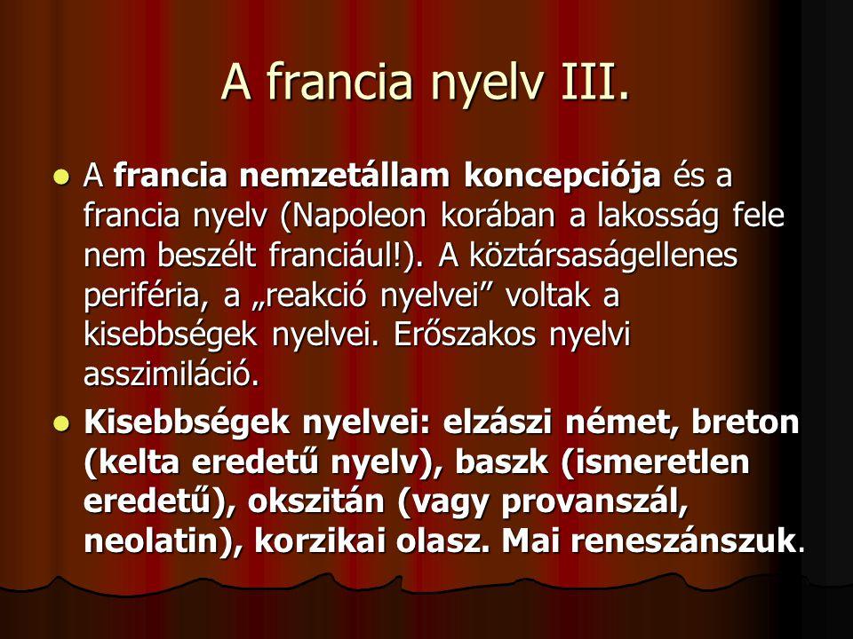 A francia nyelv III.