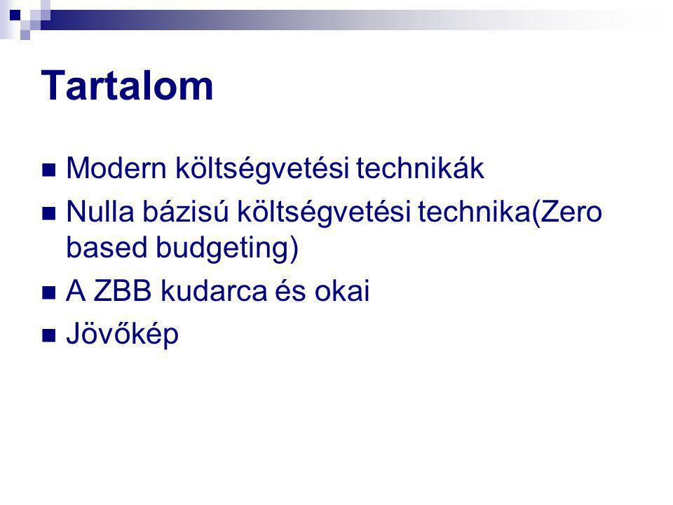 Tartalom Modern költségvetési technikák