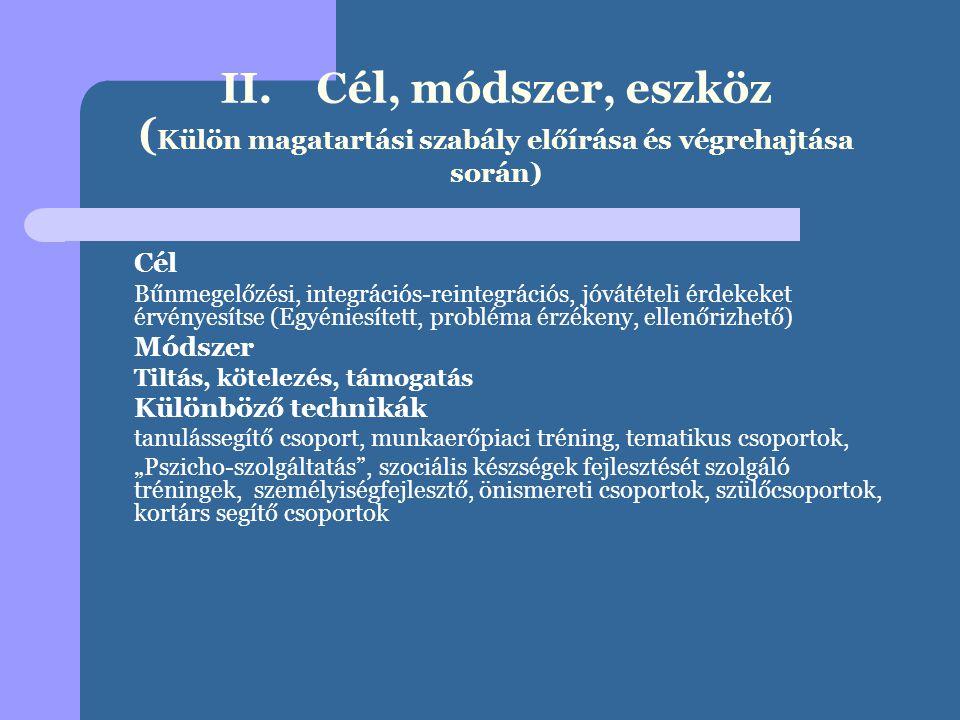 II. Cél, módszer, eszköz (Külön magatartási szabály előírása és végrehajtása során)