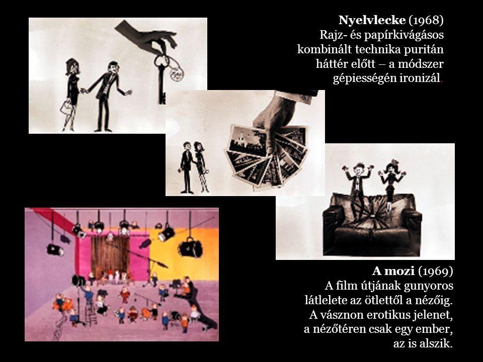 Nyelvlecke (1968) Rajz- és papírkivágásos kombinált technika puritán háttér előtt – a módszer gépiességén ironizál.