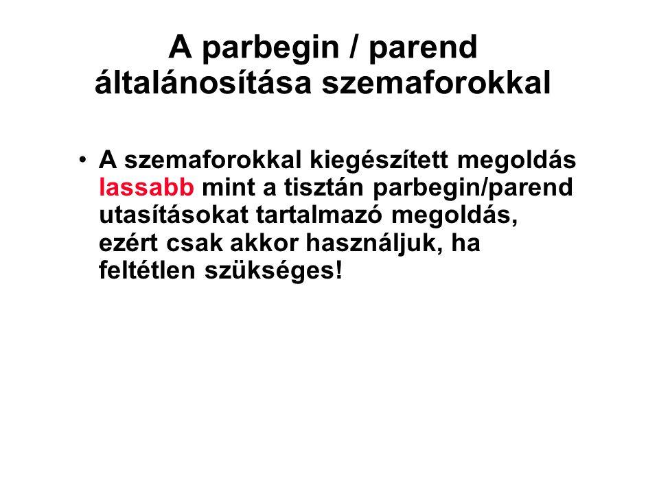 A parbegin / parend általánosítása szemaforokkal