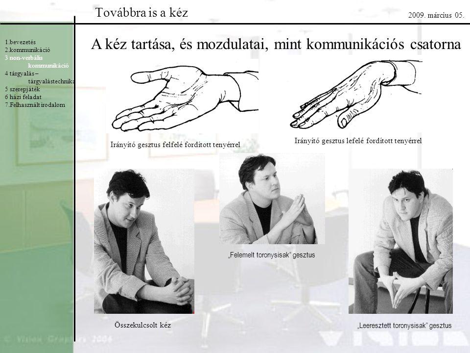 A kéz tartása, és mozdulatai, mint kommunikációs csatorna