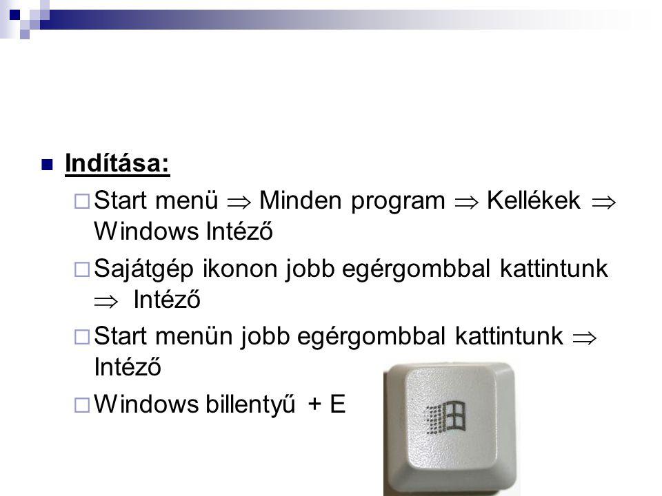 Indítása: Start menü  Minden program  Kellékek  Windows Intéző. Sajátgép ikonon jobb egérgombbal kattintunk  Intéző.