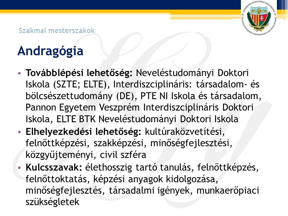 Szakmai mesterszakok Andragógia.