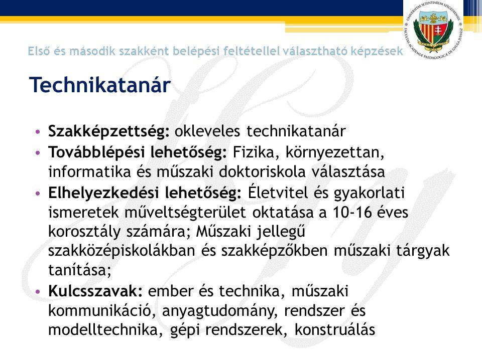 Technikatanár Szakképzettség: okleveles technikatanár