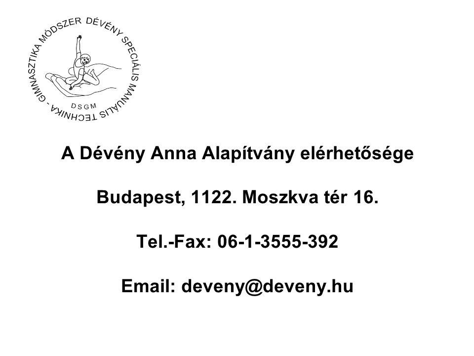 A Dévény Anna Alapítvány elérhetősége Budapest, 1122. Moszkva tér 16