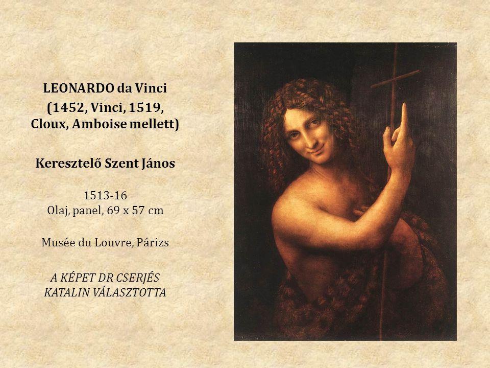 (1452, Vinci, 1519, Cloux, Amboise mellett) Keresztelő Szent János