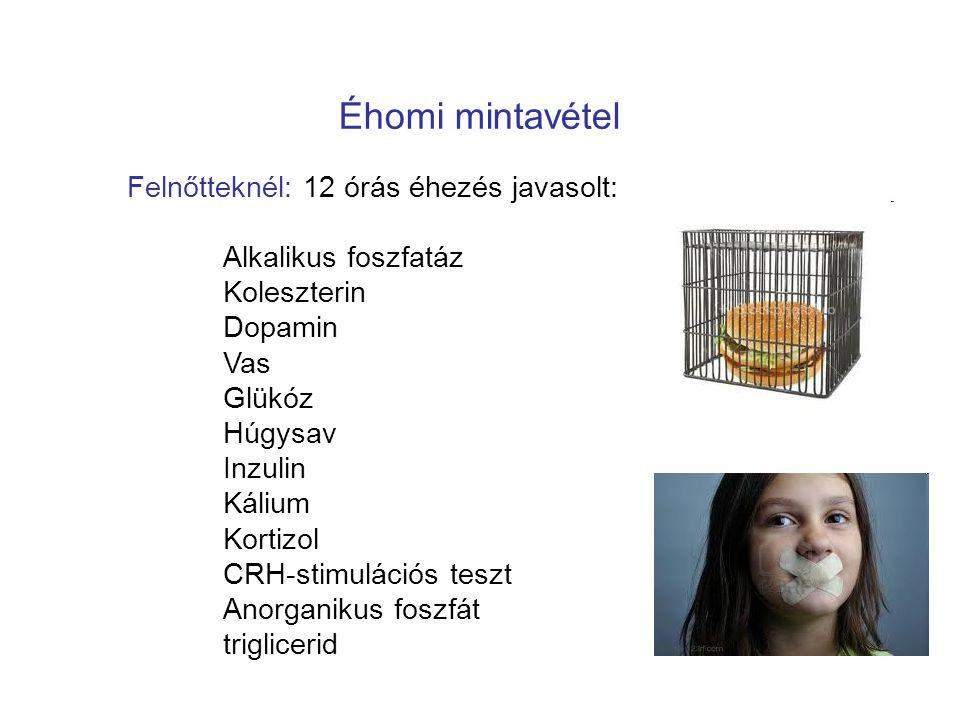 Éhomi mintavétel Felnőtteknél: 12 órás éhezés javasolt: