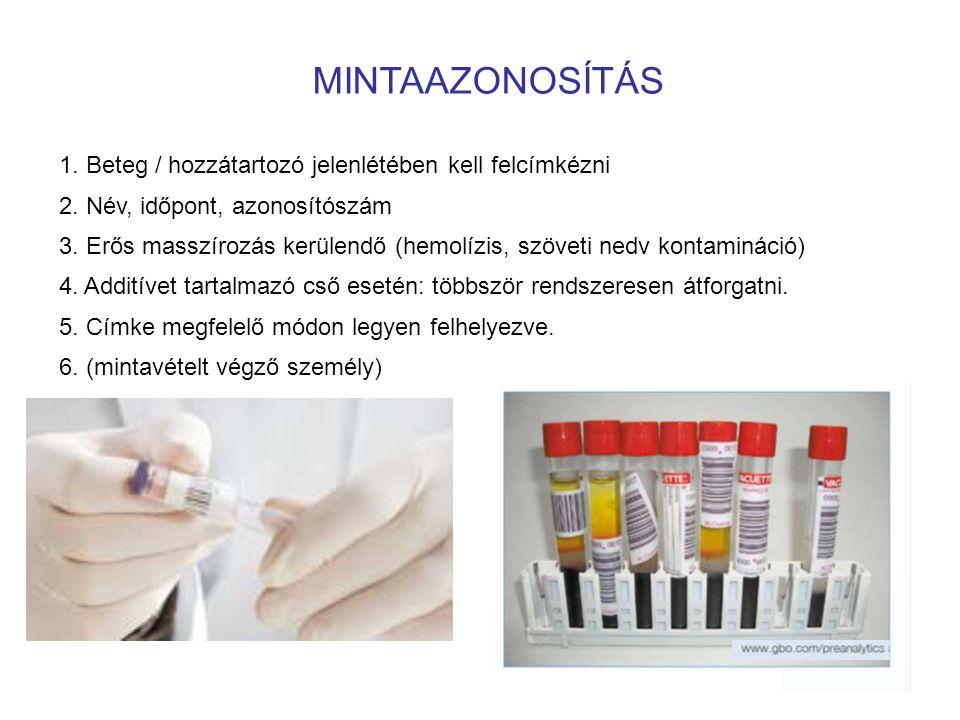 MINTAAZONOSÍTÁS 1. Beteg / hozzátartozó jelenlétében kell felcímkézni