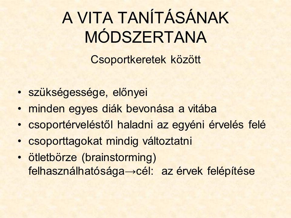 A VITA TANÍTÁSÁNAK MÓDSZERTANA