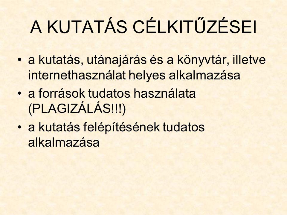 A KUTATÁS CÉLKITŰZÉSEI