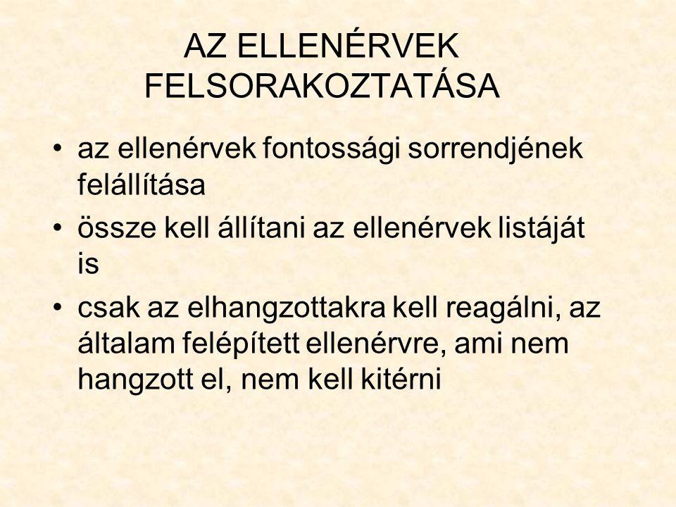 AZ ELLENÉRVEK FELSORAKOZTATÁSA