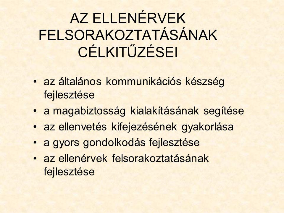 AZ ELLENÉRVEK FELSORAKOZTATÁSÁNAK CÉLKITŰZÉSEI