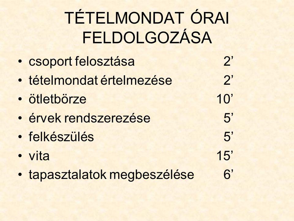 TÉTELMONDAT ÓRAI FELDOLGOZÁSA