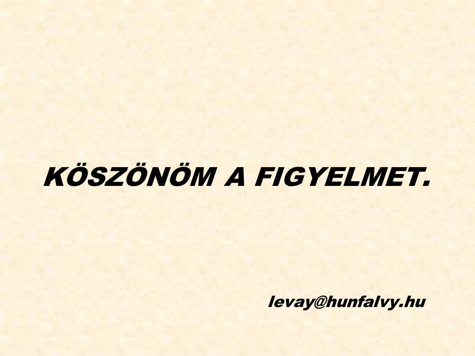 KÖSZÖNÖM A FIGYELMET. levay@hunfalvy.hu