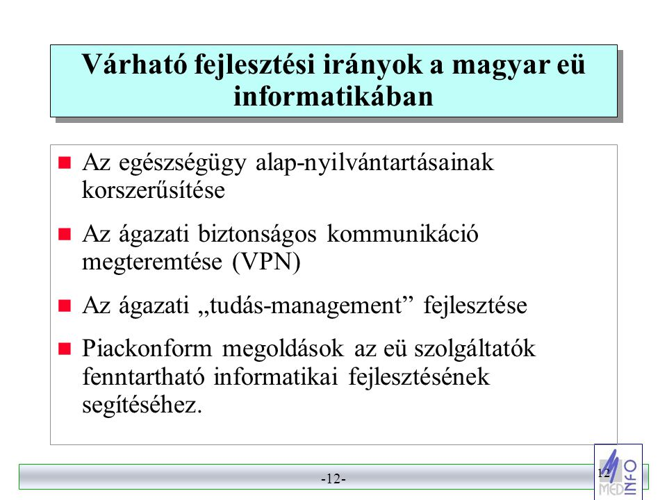 Várható fejlesztési irányok a magyar eü informatikában