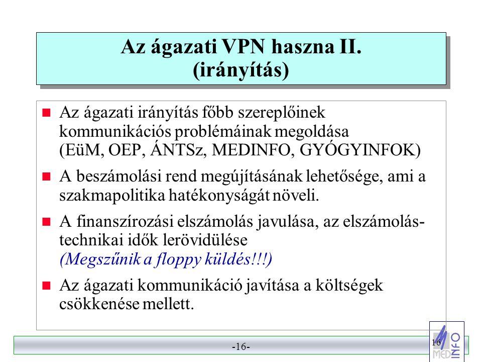 Az ágazati VPN haszna II. (irányítás)