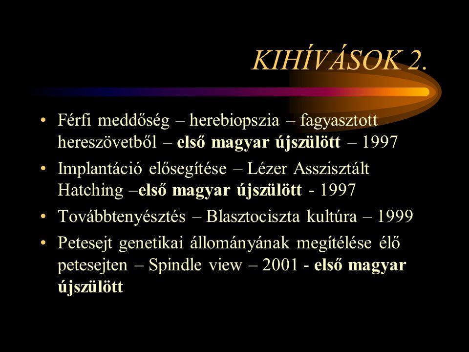 KIHÍVÁSOK 2. Férfi meddőség – herebiopszia – fagyasztott hereszövetből – első magyar újszülött – 1997.