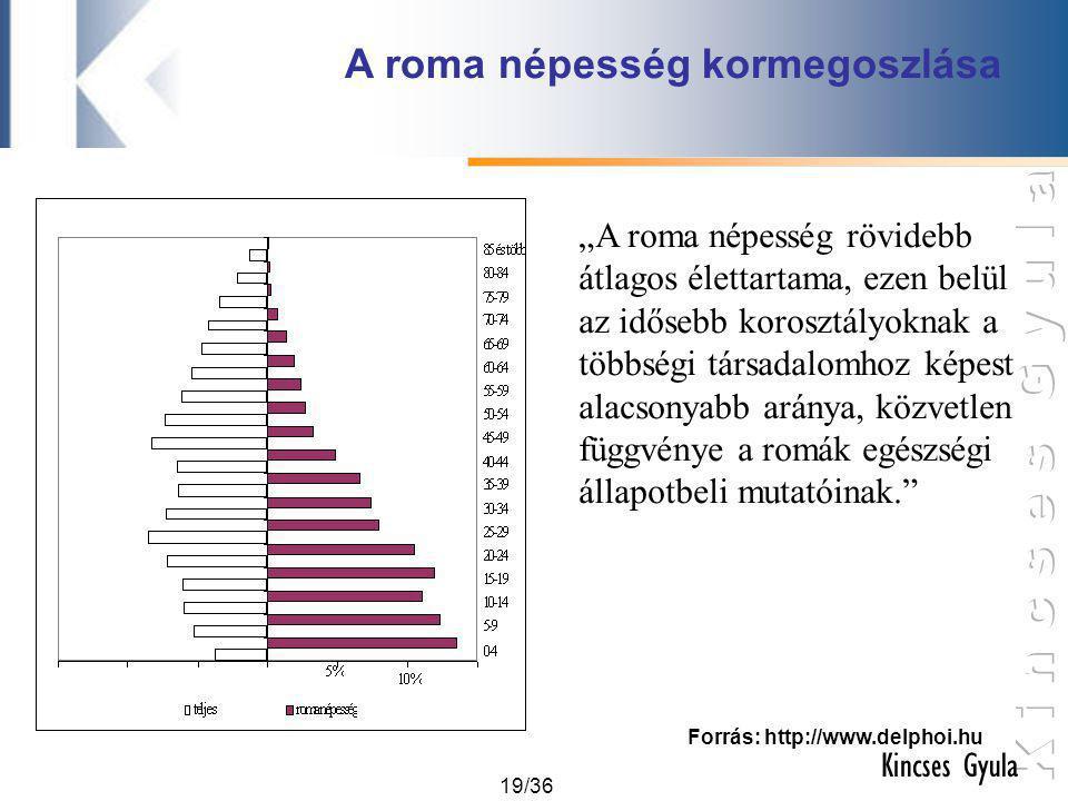A roma népesség kormegoszlása