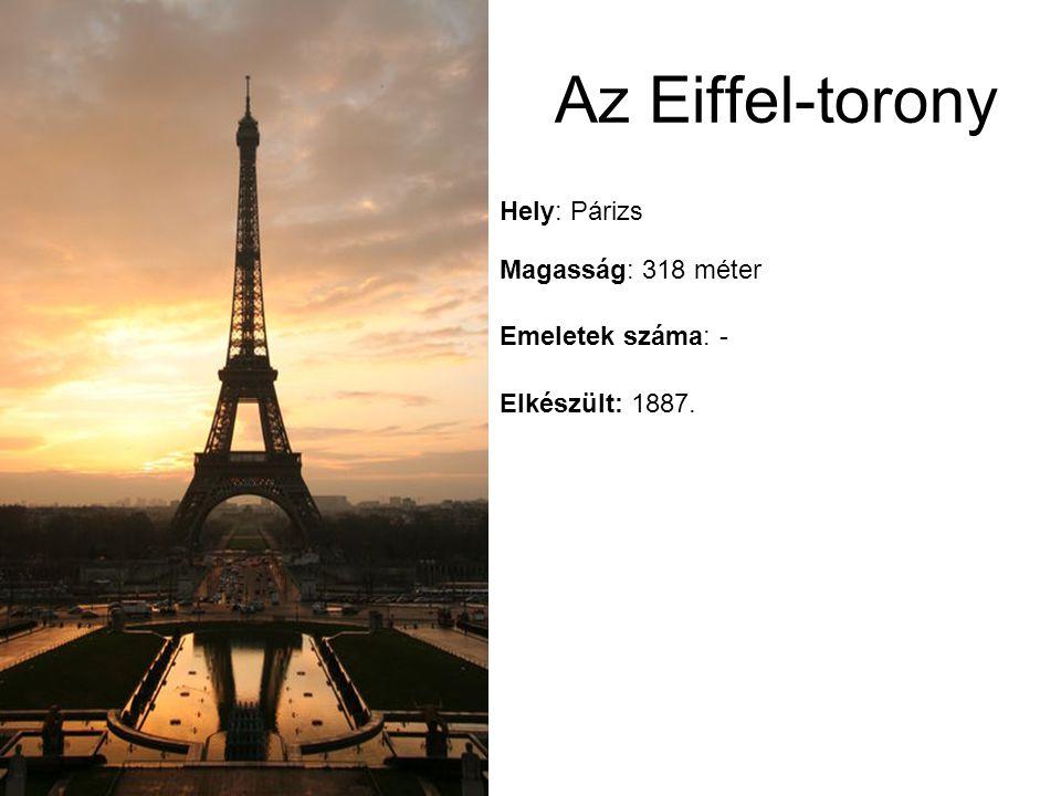 Az Eiffel-torony Hely: Párizs Magasság: 318 méter Emeletek száma: -