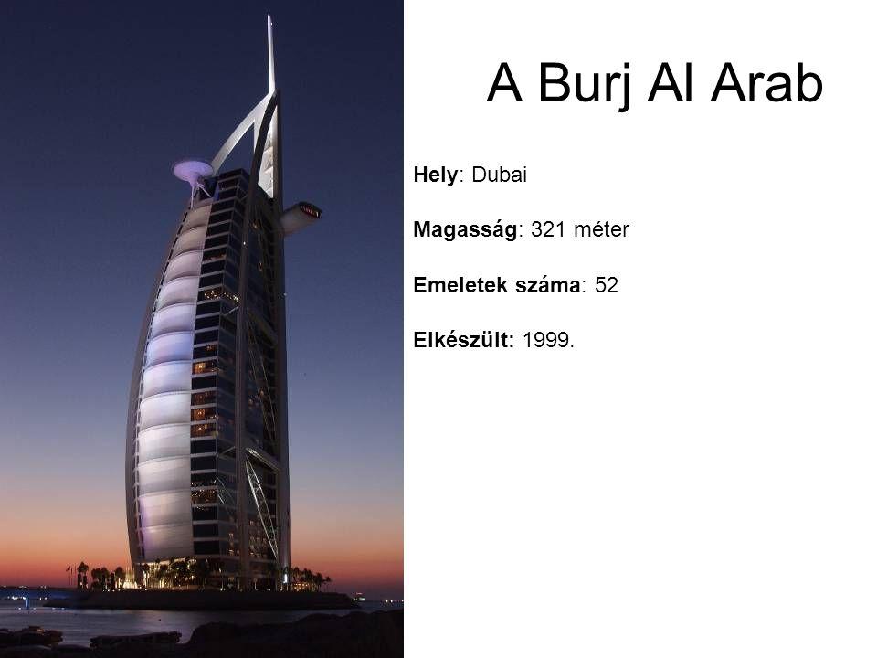 A Burj Al Arab Hely: Dubai Magasság: 321 méter Emeletek száma: 52