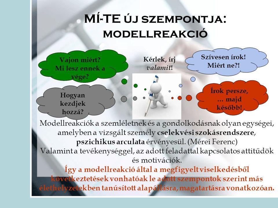 MÍ-TE új szempontja: modellreakció
