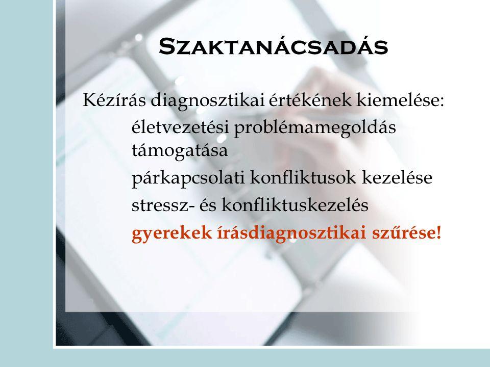 Szaktanácsadás Kézírás diagnosztikai értékének kiemelése: