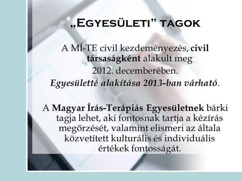 """""""Egyesületi tagok A MÍ-TE civil kezdeményezés, civil társaságként alakult meg. 2012. decemberében."""