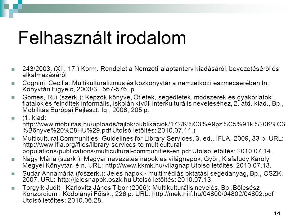 Felhasznált irodalom 243/2003. (XII. 17.) Korm. Rendelet a Nemzeti alaptanterv kiadásáról, bevezetéséről és alkalmazásáról.