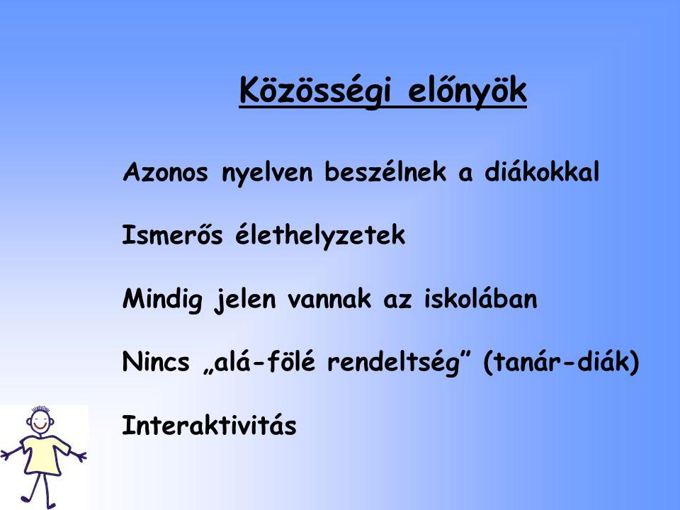 Közösségi előnyök Azonos nyelven beszélnek a diákokkal